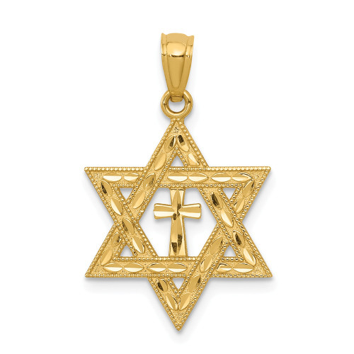 14k Yellow Gold Star Of David With Cross Pendant C3740