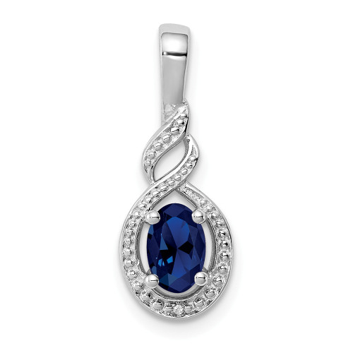 Sterling Silver Sapphire And Diamond Pendant QBPD18SEP