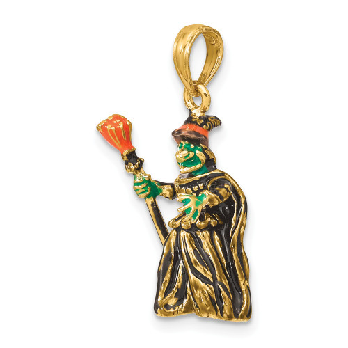 14K Yellow Gold 3-D Enameled Halloween Witch With Broom Charm K6888