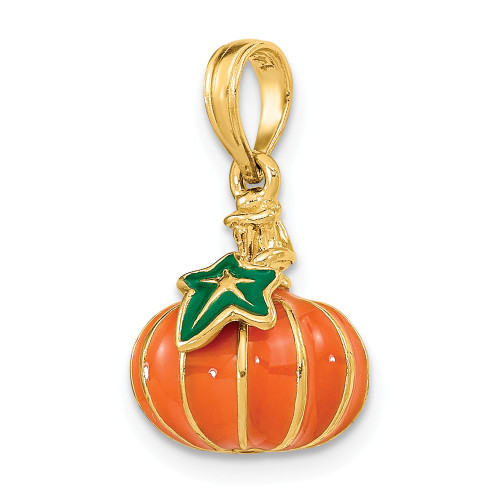 14K Yellow Gold 3-D Enameled Halloween Pumpkin Charm - K6886