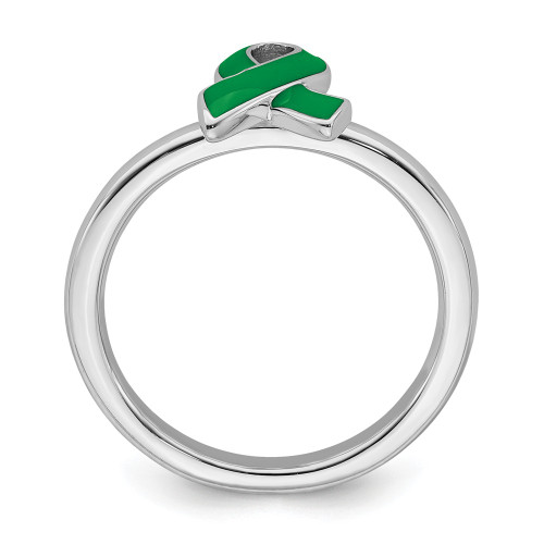 Sterling Silver Stackable Expressions Green Awareness Ribbon Ring Size 8 QSK942-8