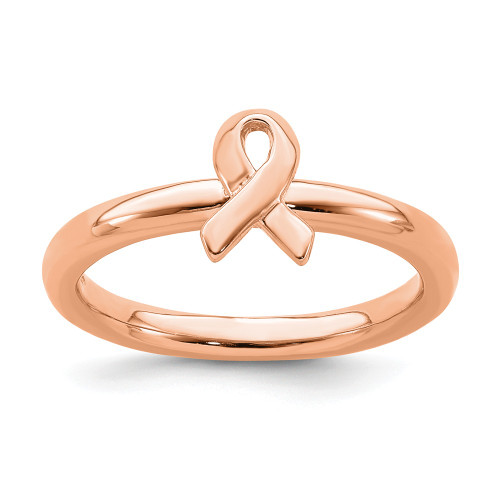 Sterling Silver Stackable Expressions Rose Gold Awareness Ribbon Ring QSK871-5