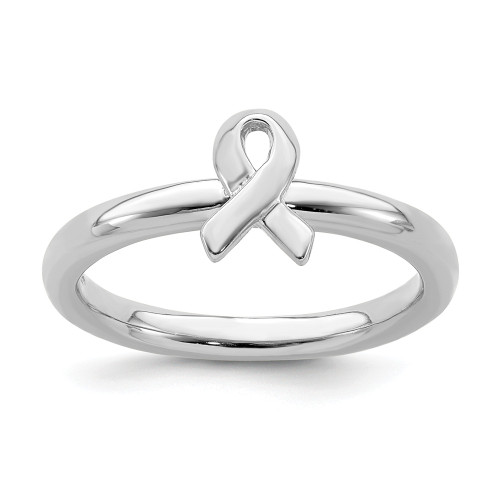 Sterling Silver Stackable Expressions Cancer Awareness Ribbon Ring QSK869-5