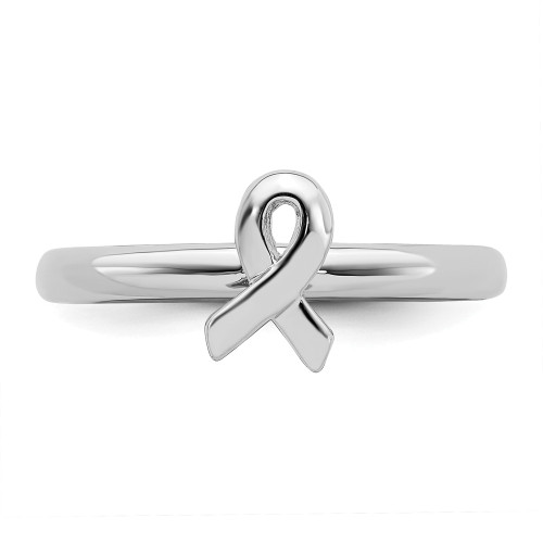 Sterling Silver Stackable Expressions Cancer Awareness Ribbon Ring QSK869-10