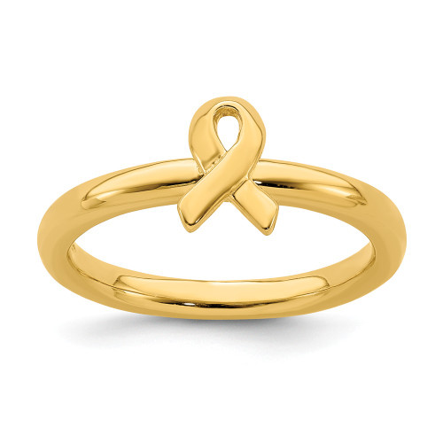 Sterling Silver Stackable Expressions Gold Plated Awareness Ribbon Ring Size 9 QSK870-9