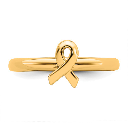 Sterling Silver Stackable Expressions Gold Plated Awareness Ribbon Ring Size 10 QSK870-10