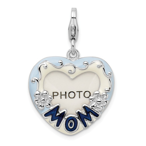 Sterling Silver Blue Enameled Mom Photo Picture Frame With Lobster Clasp Charm QCC161