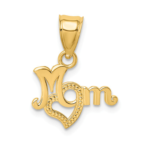 14K Yellow Gold Mom With Heart Charm D3938