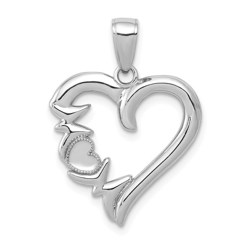 14K White Gold Heart With Mom On Left Side Charm K5196W