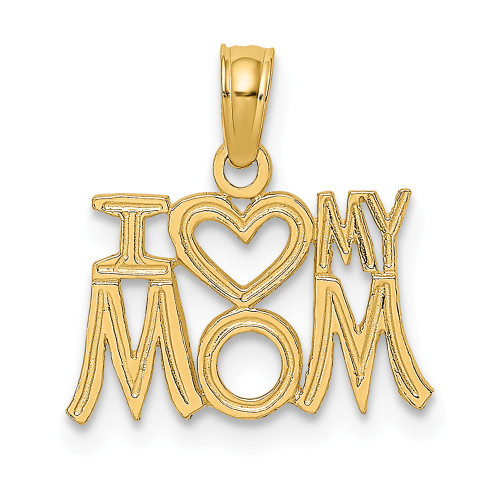 14K Yellow Gold I Heart My Mom Charm D3939