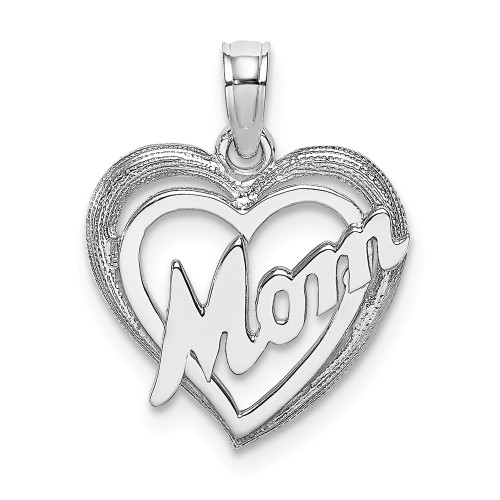 14K White Gold Mom Inside Heart Charm K9589W