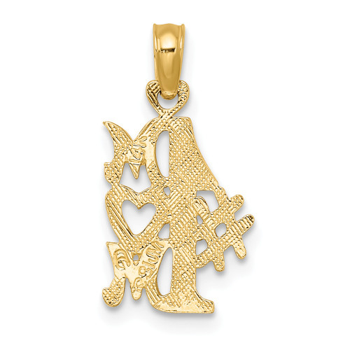 14K Yellow Gold #1 Mom Vertical Charm D3928