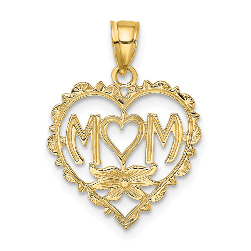"""14K Yellow Gold """"MOM"""" In Heart Pendant D3941"""
