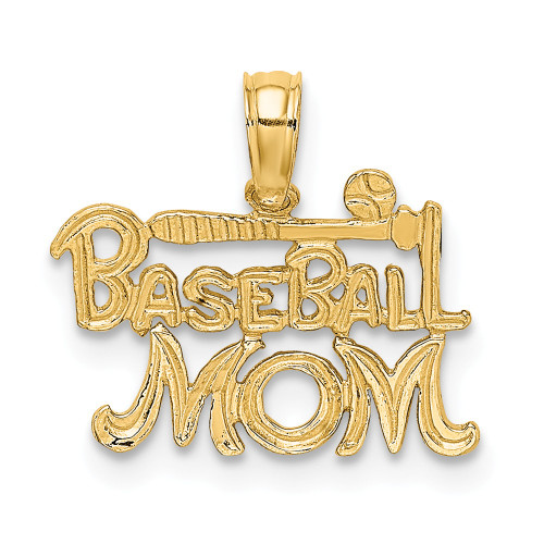 14K Yellow Gold Baseball MOM Charm K8903