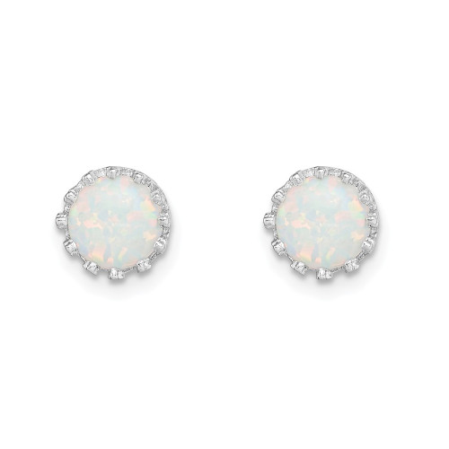 Sterling Silver 6mm Created Opal Post Earrings QE15345