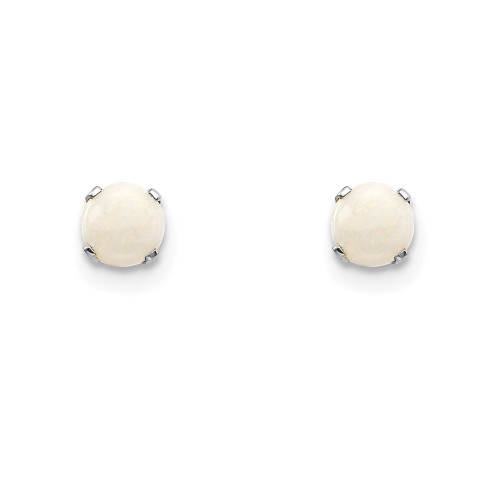 14k White Gold 4mm Opal Stud Earrings XBE130