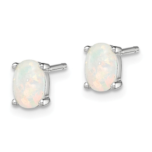 Sterling Silver Oval Opal Post Earrings QE4972