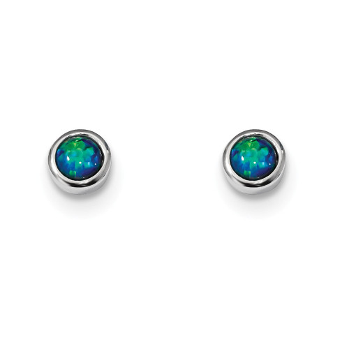 Sterling Silver Synthetic Blue Opal Post Earrings QE13939