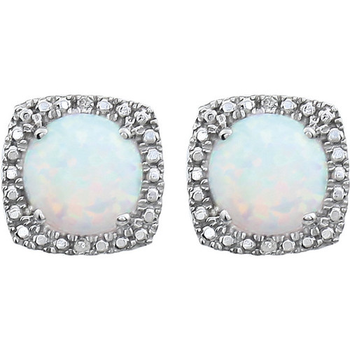 Sterling Silver Created Opal & Diamond Earrings 650167:102:P