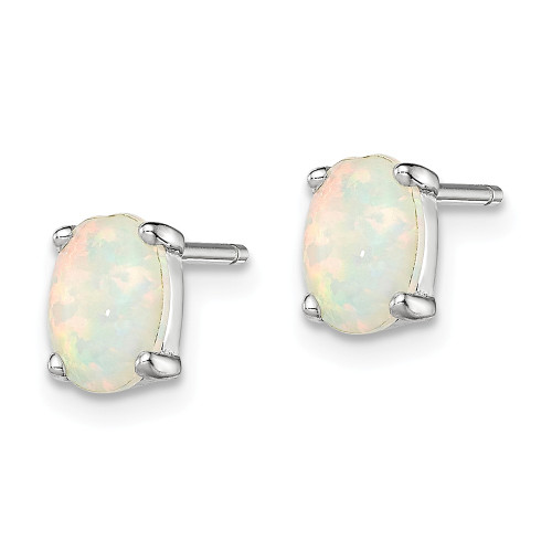 Sterling Silver Oval Created Opal Post Earrings QE4971