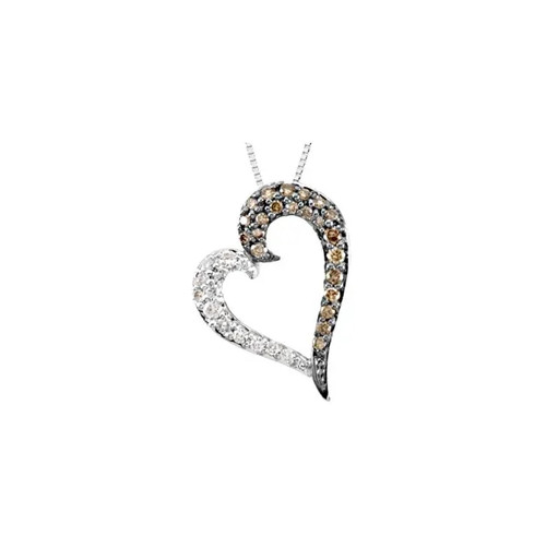 "14K White Gold 1/4 CTW Diamond Heart Pendant with 18"" Necklace - 67019:101:P"