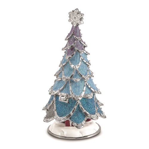 Bejeweled ARCTIC BLUE Christmas Tree Trinket Box - BJ4105