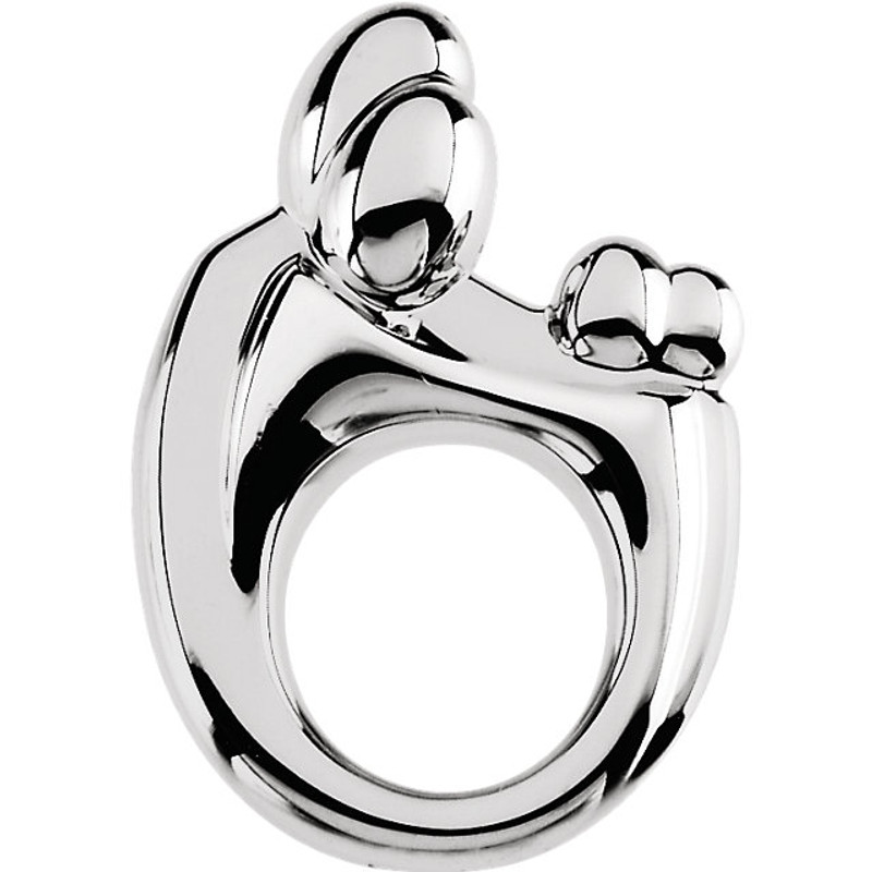 Sterling Silver Mother and Child Family Twin Pendant
