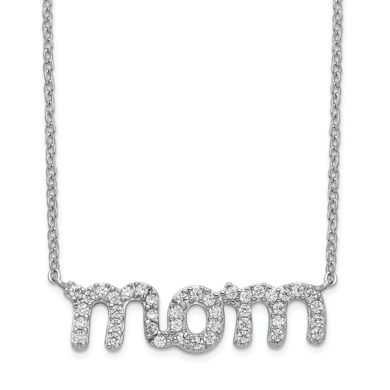 Cubic Zirconia (CZ) Mom Necklace in Sterling Silver - QG4014-18