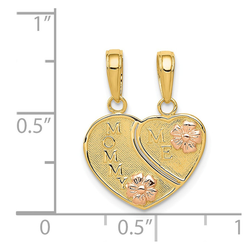 14k Two-Tone Gold Mommy / Me Breakable Heart Pendant  - K1713