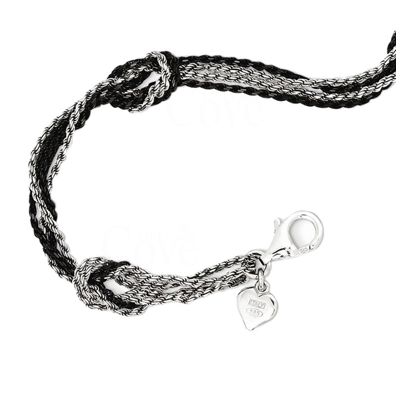 Italian Sterling Silver and Ruthenium Double Knot Bracelet - QH4913-7-5