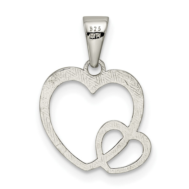 Sterling Silver Polished Hearts Pendant  - QP4427