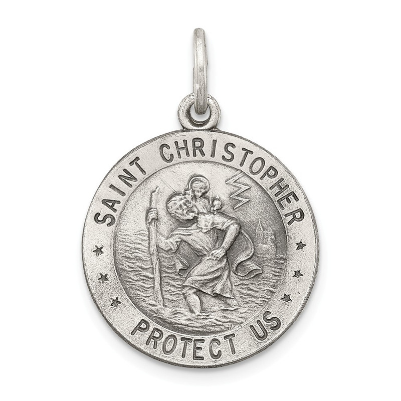 Sterling Silver St. Christopher Medal Charm Pendant - 25x20 - QC439