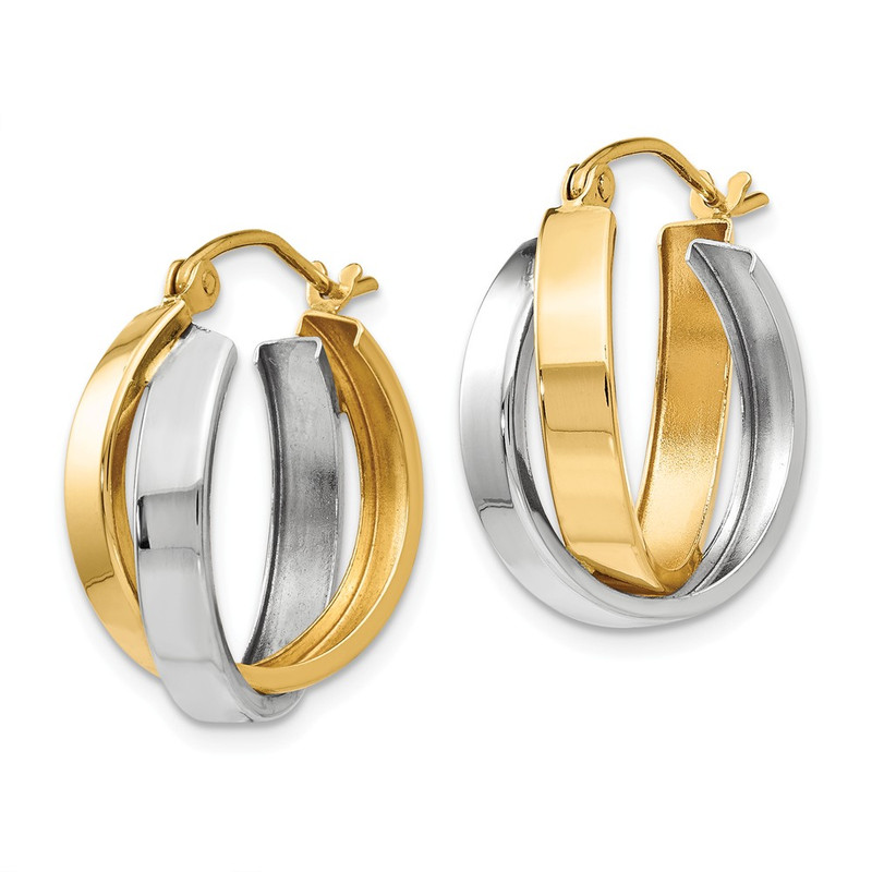 14k Two-tone Gold Double Hoop Earrings TL115