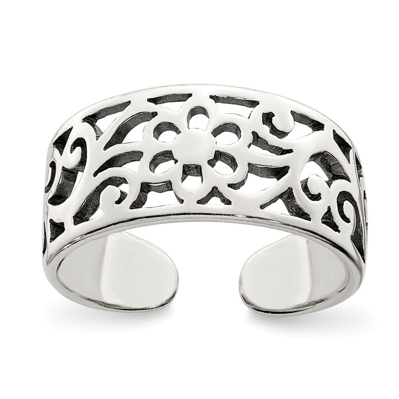 Sterling Silver Antiqued Floral Toe Ring QR782