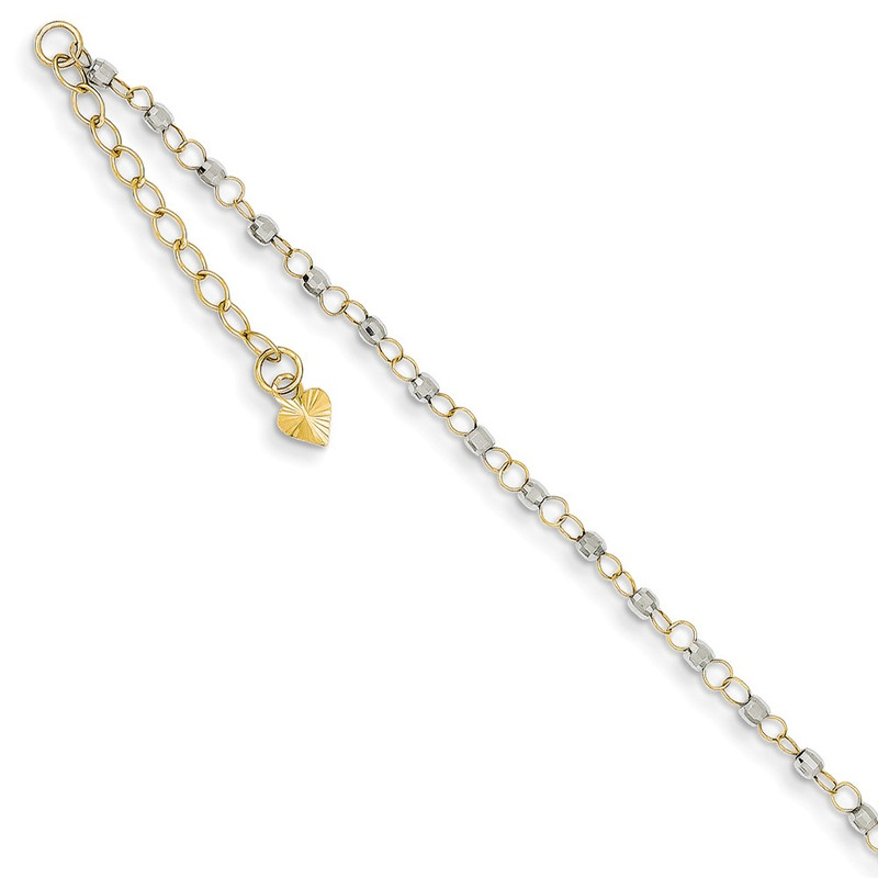 14K Two-tone Gold Circle Chain w/ Mirror Beads w/ 1in Ext Anklet ANK263-9
