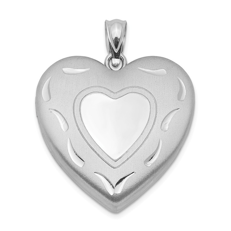 Sterling Silver Rhodium-plated 24mm D/C Heart Locket QLS398