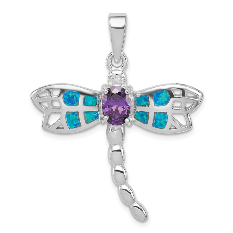 Sterling Silver Created Opal Inlay Dragonfly Amethyst Pendant QC7689
