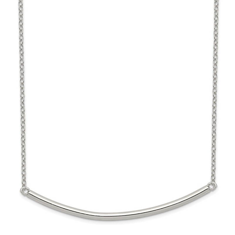 Sterling Silver Polished w/1 inch ext. Bar Necklace QG3681-16