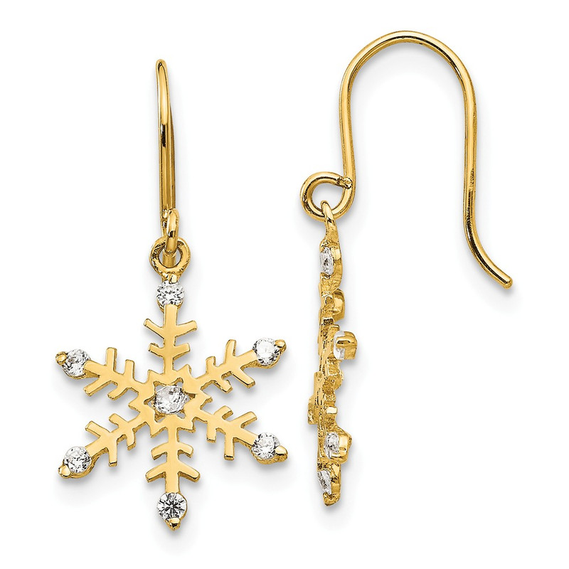 14k Yellow Gold Madi K Cubic Zirconia (CZ) Children's Snowflake Dangle Earrings GK848