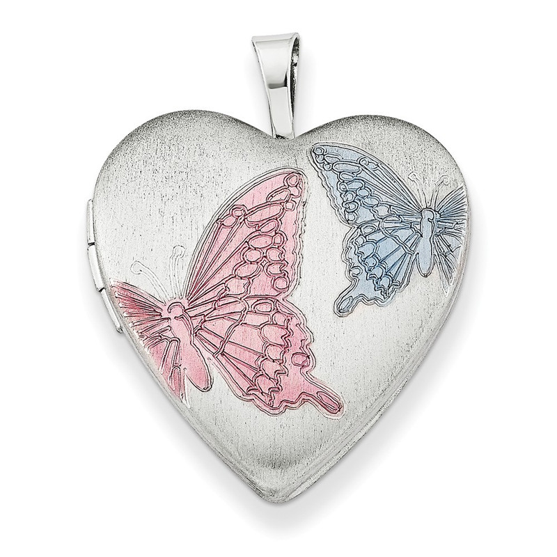 "Sterling Silver Enameled Butterflies Heart Locket with 18"" Chain - QLS230-18"