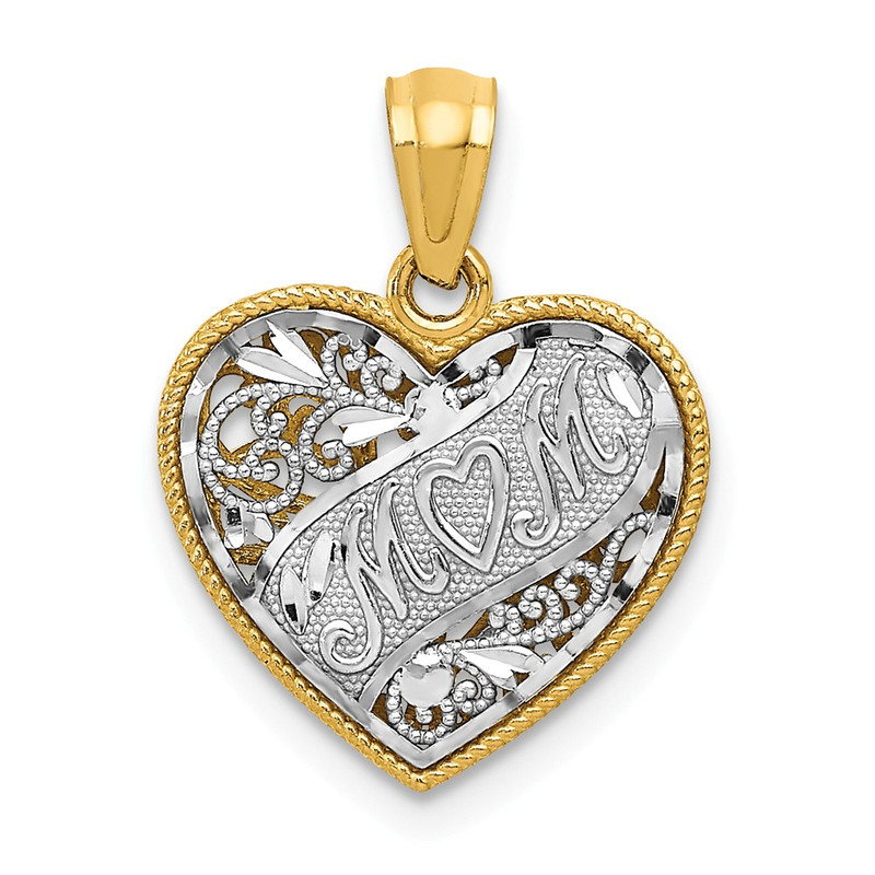 14k Two-Tone Gold Reversible Mom Heart Pendant D2904
