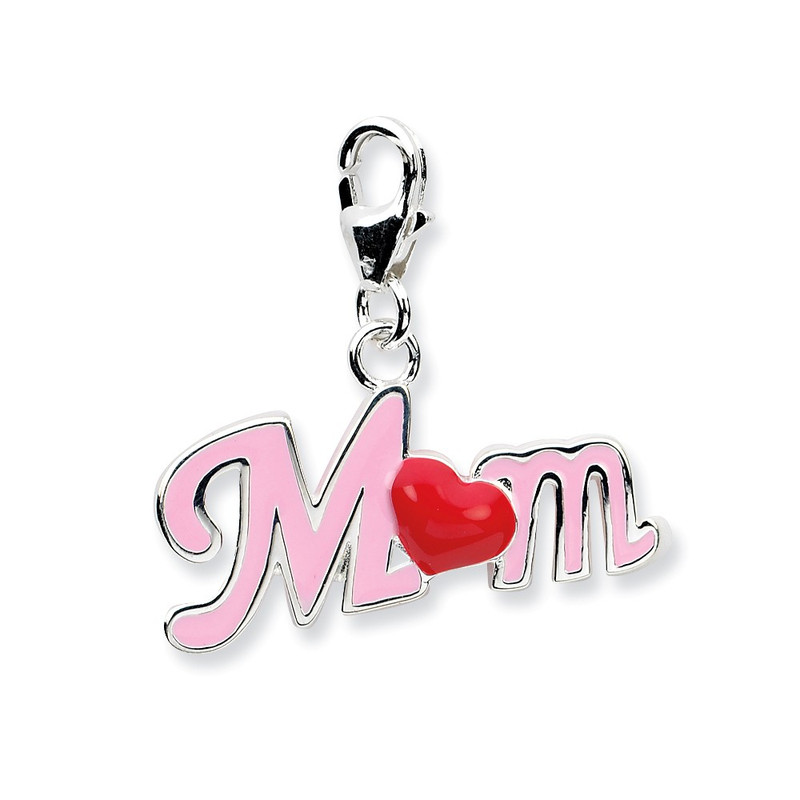 Sterling Silver 3-D Enameled Mom With Lobster Clasp Charm QCC563