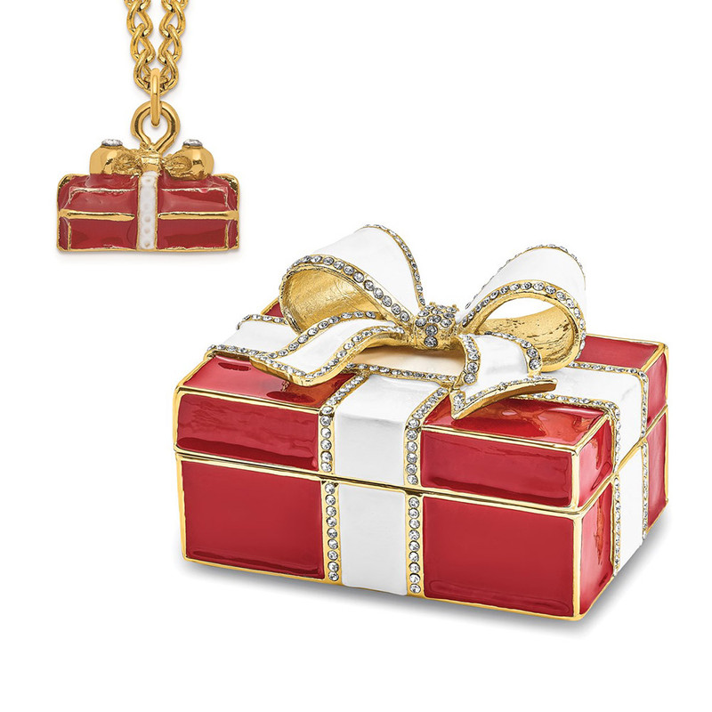 Bejeweled DESIRE Red Gift Box With Ring Pad Trinket Box - BJ4081