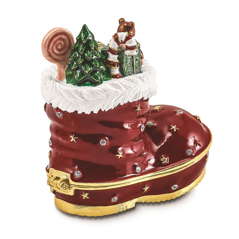 Bejeweled BOOTS Stocking Trinket Box - BJ4111