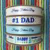 "#1 Dad ribbon in royal blue with polka dots in primary colors printed on 7/8"" white single face satin ribbon, 10 yards"