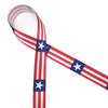 """Red and white stripes with a single white star on a navy blue background printed on 5/8"""" white single face satin ribbon is a great ribbon for all your Americana themed gatherings!"""