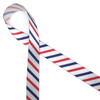 "Stripes of red, white and blue printed on 5/8"" white single face satin ribbon is an American tradition for celebrating our patriotic holidays."