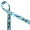 """Scissors in black silhouette printed on 5/8"""" lt. blue  single face satin ribbon is an ideal way to tie gifts and favors for your hair stylists or sewing skilled friends!"""