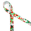 """Strawberries with their flowers and leaves printed on 5/8""""white single face satin ribbon is the perfect ribbon for tying all those gifts of strawberry jam once you start picking those June berries!"""