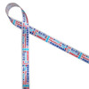 """Fourth of July word block ribbon with all the fun expressions of the holiday in red and blue printed on 5/8"""" white single face satin ribbon."""